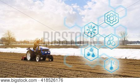 Farmer On A Tractor With Milling Machine Loosens, Grinds And Mixes Soil. Agricultural Startups, Impr