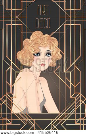 Art Deco Vintage Illustration Of Flapper Girl. Retro Party Character In 1920 S Style. Vector Design