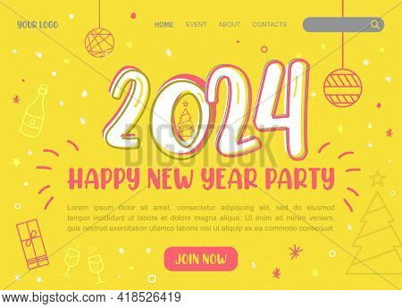 2024 Happy New Year Logo Text Design. 2024 Number Design Template. Brochure Design Template, Card, B