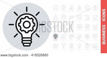 Business Innovation Concept Icon. Light Bulb With A Gear Inside. Simple Black And White Version From