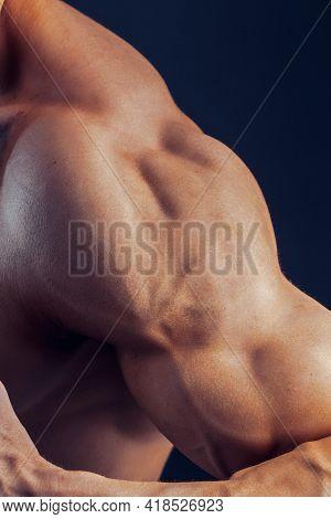 Fitness Man Background Shoulder Biceps Pectoral Muscles Triceps Bodybuilder On A Dark Background Dem