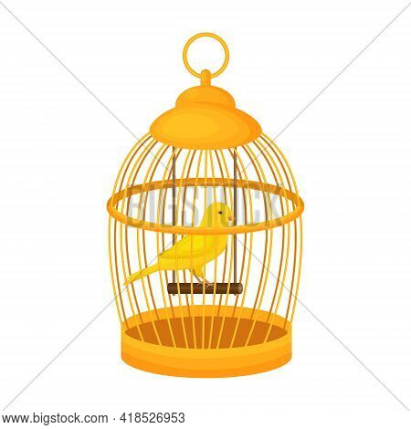 A Bright Yellow Canary Bird Sits On A Wooden Perch In A Closed Golden Cage. Vector Illustration Isol