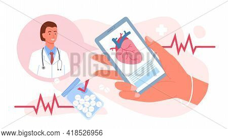 Call Doctor, Cardiology Medicine, Hand Holding Mobile Phone For Medical Consultation