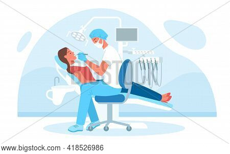 Dentistry Medical Checkup In Hospital, Doctor Dentist In Mask Examining Patient Teeth