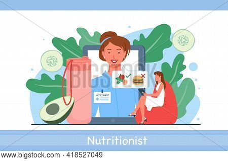 Nutrionist Doctor Appointment Online With Woman Dietitian And Patient Talking About Diet