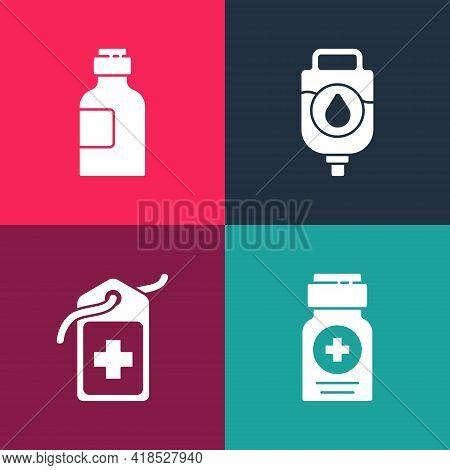 Set Pop Art Medicine Bottle, Cross Hospital Medical Tag, Iv Bag And Bottle Of Medicine Syrup Icon. V