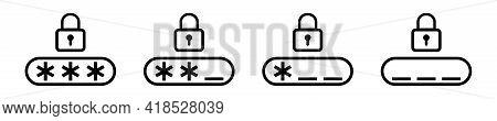 Password Icon Black Vector Illustration. Login Password Pin Code Icons. Data Protection
