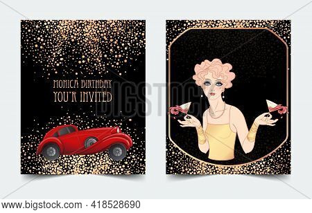 Art Deco Vintage Invitation Template Design With Illustration Of A Red Car. Vector Illustration. Roa