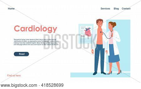 Cardiology Medicine Appointment Vector Illustration. Cartoon Doctor Cardiologist Woman Character Wit