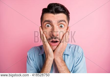 Close-up Portrait Of Worried Nervous Frustrated Guy Incredible News Reaction Isolated Over Pink Past