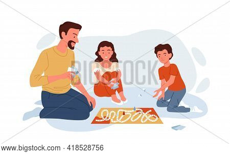 Happy Family Play Board Game With Cards At Home, Father And Boy Girl Children Playing