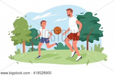 Family People Play Ball In City Nature Summer Park, Father And Son Playing Fun Sport Game