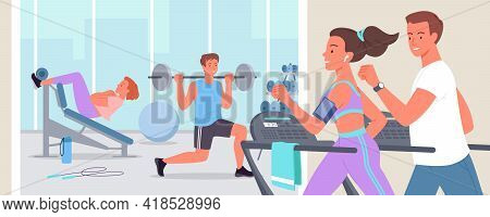 People Doing Sports Workout In Gym, Active Young Sportive Woman Man Run On Treadmill