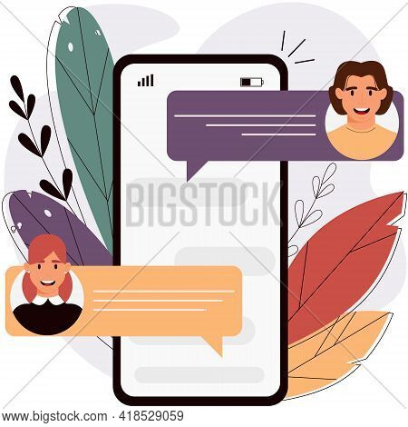 Online Chat Messages On The Smartphone Screen.  Messaging Concept.  Vector Illustration