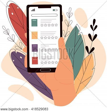 Hand Holds Smartphone With Electronic Library.  Digital Library, Reading Book Online, Distance Learn
