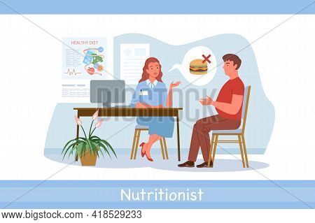 Nutrionist Doctor Examination, Conversation In Hospital, Dietitian Woman And Man Patient