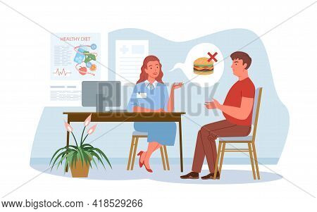 Nutritionist Doctor Examination, Conversation In Hospital. Cartoon Dietitian Woman And Man Patient C