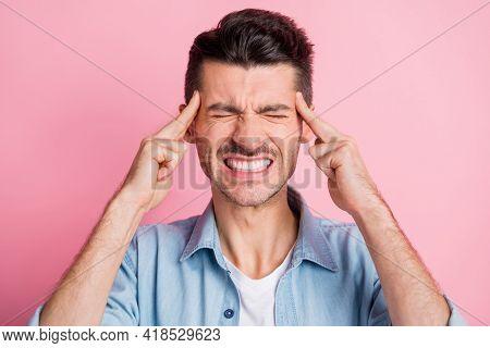 Photo Portrait Of Miserable Man Feeling Migraine Touching Head Finger Grimacing Headache Need Pills