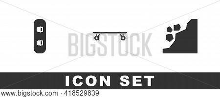 Set Snowboard, Longboard Or Skateboard And Landslide Icon. Vector