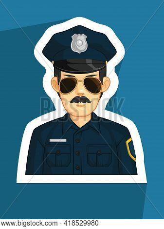 Mascot Police Law Enforcement Officer Profile Avatar Cartoon Vector