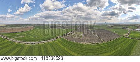 Aerial Panorama Of Upper Thracian Plain Near Town Of Parvomay, Plovdiv Region,  Bulgaria