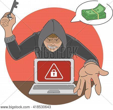 Ransomware Attack Scam Malware On Laptop Computer Cartoon Illustration