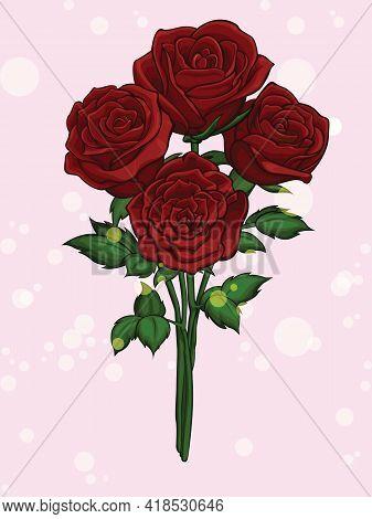 Red Rose Flowers Bouquet Blossom Cartoon Illustration
