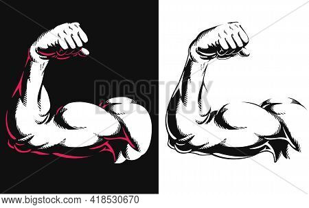 Silhouette Arm Bicep Muscle Flexing Bodybuilding Stencil Drawing