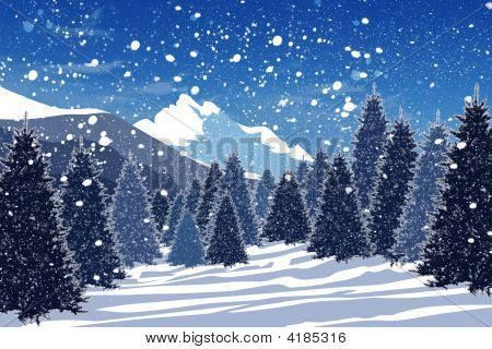 Snowy winter forest in the Carpathian mountains poster