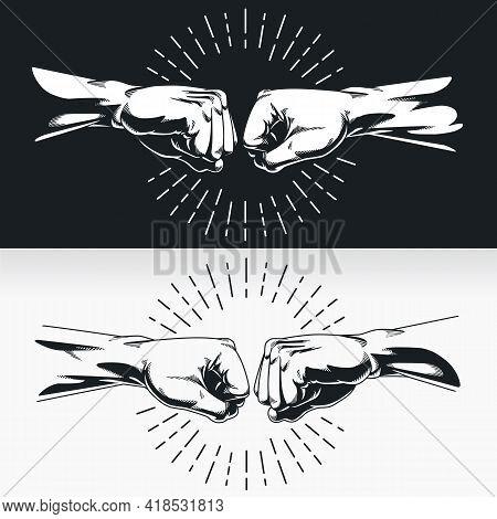 Silhouette Bro Fist Bump Handshake Knuckle Stencil Vector Drawing