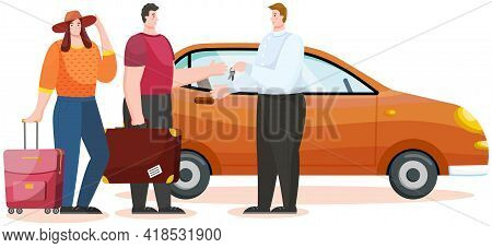 Car Rental And Traveling By Vehicle With Family. Couple Searching Adventures Rents Automobile. Trave