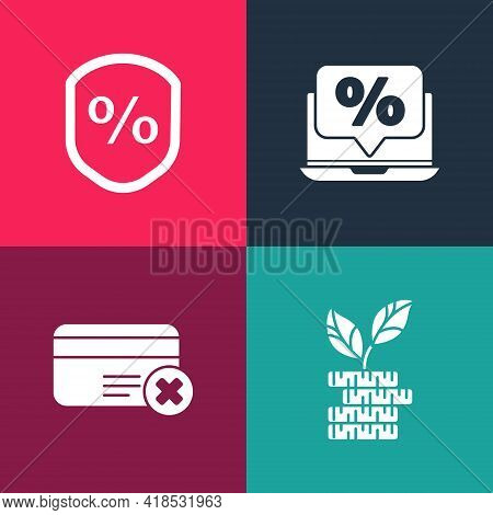 Set Pop Art Dollar Plant, Credit Card Remove, Percent Discount And Laptop And Loan Percent Icon. Vec