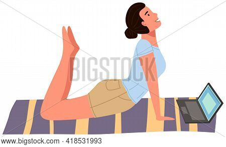 Young Woman Working Out Doing Exercises At Home. Girl Doing Yoga On Mat. Sportswoman Stretches In Ap