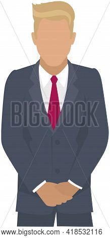 Confident Businessman In Office Outfit. Avatar Man In Dark Suit And Tie Isolated On White Standing W