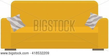 Soft Couch With Colorful Pillows. Leisure Furniture Vector. Yellow Sofa Or Divan Isolated On White B