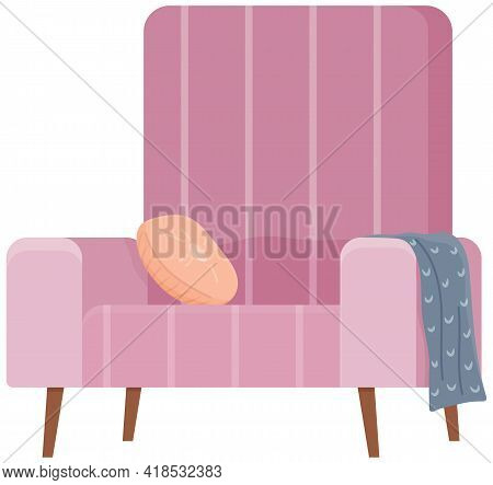 Armchair In Retro Pink Color. Modern Soft Armchair With Upholstery Of Striped Cloth. Living Room Fur