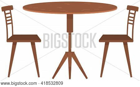 Round Table And Chairs For Cafe, Restaurant Terrace Or Home Interior. Cartoon Furniture Or Decoratio