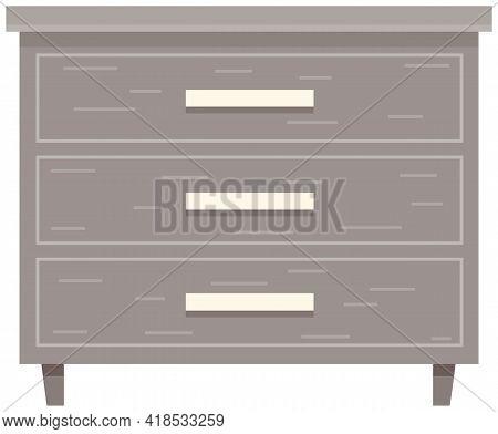 Bedroom Nightstand Vector Illustration. Wooden Bedside Table In Flat Design For Bedroom. Nightstand