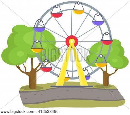 Ferris Wheel With Colored Booths On Playground. Outdoor Entertainment For Children And Adult. Colorf