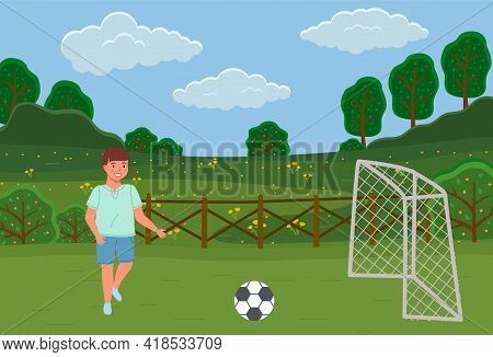 Guy Plays Football On Field. Child Running After Ball To Score Goal. Male Character Running After Ba