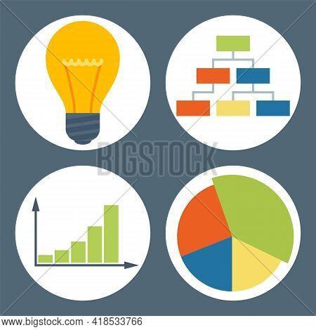 Business Infographic Icons. Vector Illustration Colored Pie Chart, Light Bulb, Block Diagram, Graph.