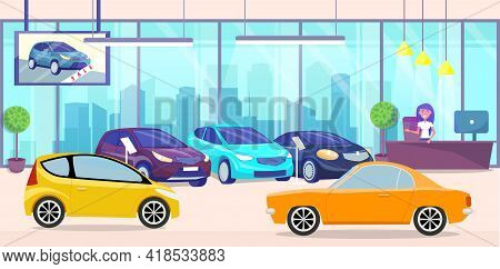 Car Center, Automobiles In Store. Test Drive, Auto Showroom, Sale Of Luxury Transport, Distribution