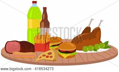 Fast Food Meal Set On Table. Classic Cheese Burger With Grilled Meat, French Fries, Grilled Chicken