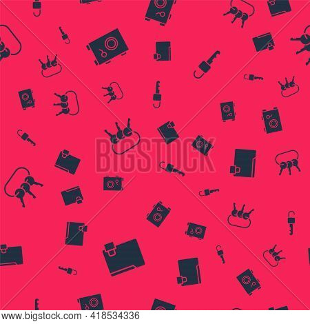 Set Folder And Lock, Safe, Bunch Of Keys And Unlocked On Seamless Pattern. Vector