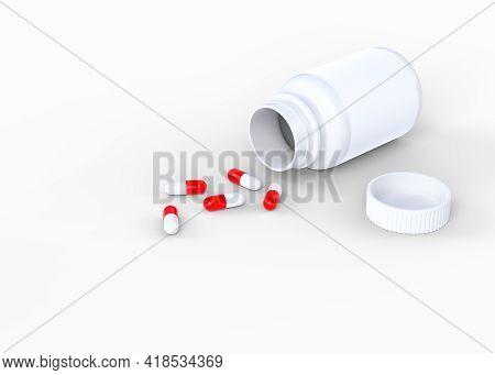 Pills Scattered From Pharmacy Bottle Isolated On White Background. 3d Rendering Illustration