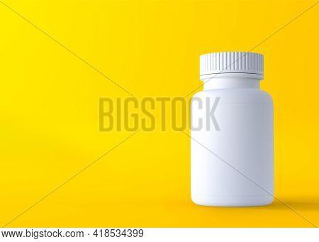 Pills Bottle On Yellow Background. Minimal Creative Idea. 3d Rendering Illustration