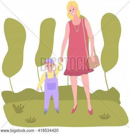 Mom And Child Walk In Park By Hand. Family Is Walking In Summer Park. Parent And Child Have Rest In