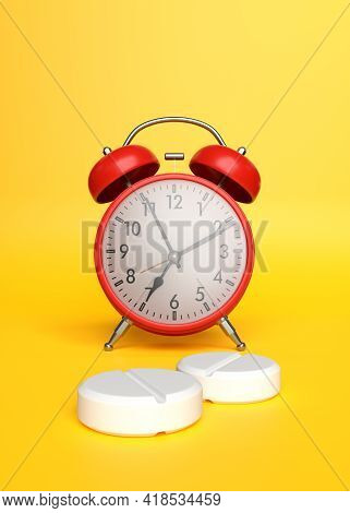 White Pharmaceutical Medicine Pills, Tablets, Capsules And Red Alarm Clock On Yellow Background. Med