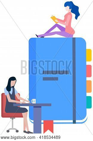 Woman Diary. Student At Table Studying With Book. Girl Write Journal. Business Team Makes Notificati