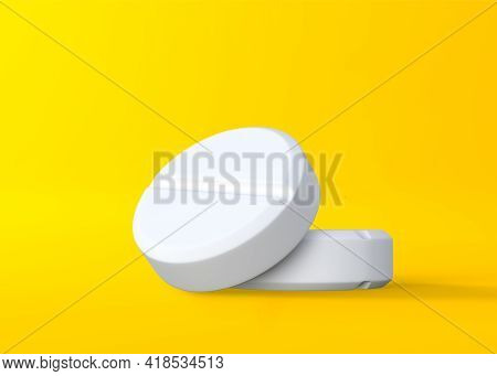 Pharmaceutical Medicine Pills, Tablets And Capsules On Yellow Background. Medical Concept. 3d Render